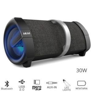 AKAI ABTS-V1 ΦΟΡΗΤΟ ΗΧΕΙΟ BLUETOOTH ΜΕ USB, LED, MICRO SD ΚΑΙ AUX-IN – 30W