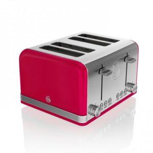 Swan Retro 4 Slice Red Toaster – Κόκκινο #ST19020RN