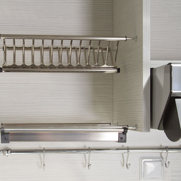 Silver ΚΣ125-Φ65-1 Γκρι Πολυκουζινάκι με Δεξιά Γούρνα 190x65x209cm με μεγάλο ψυγείο & φουρνάκι