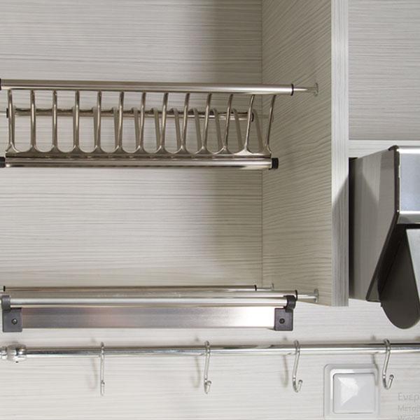 Silver ΚΣ125-Φ65-1 Κερασί Πολυκουζινάκι με Δεξιά Γούρνα 190x65x209cm με μεγάλο ψυγείο & φουρνάκι